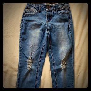 Indigo Rein Girl's Distressed Cropped Jeans